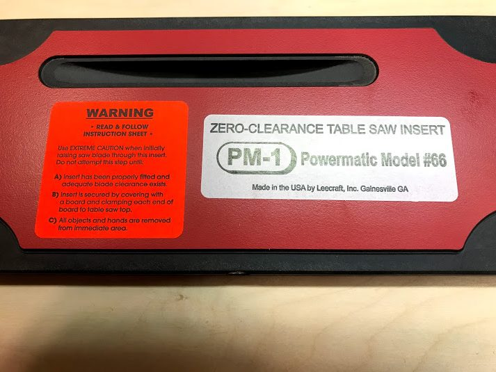 PM-11 Lee Valley Tools Zero-clearance throat plate