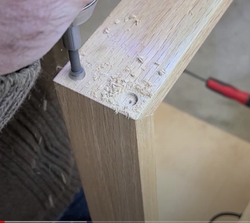 Drilling for reinforced miter joint