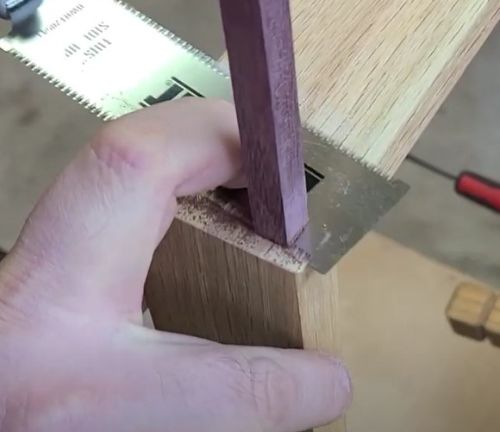 Reinforced Miter joint - trimming the square plug